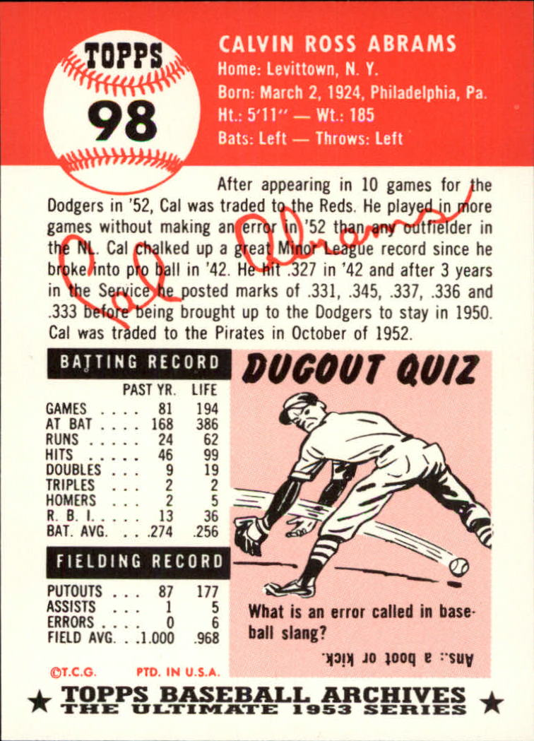 1991 Topps Archives 1953 #98 Cal Abrams back image