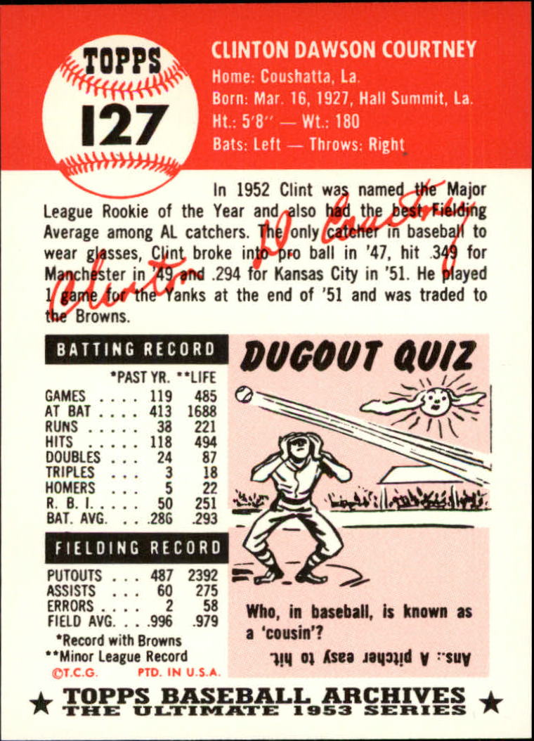 1991 Topps Archives 1953 #127 Clint Courtney back image