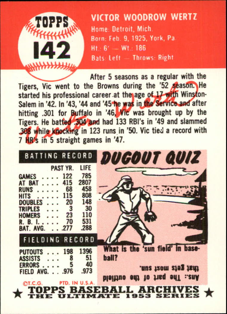 1991 Topps Archives 1953 #142 Vic Wertz back image