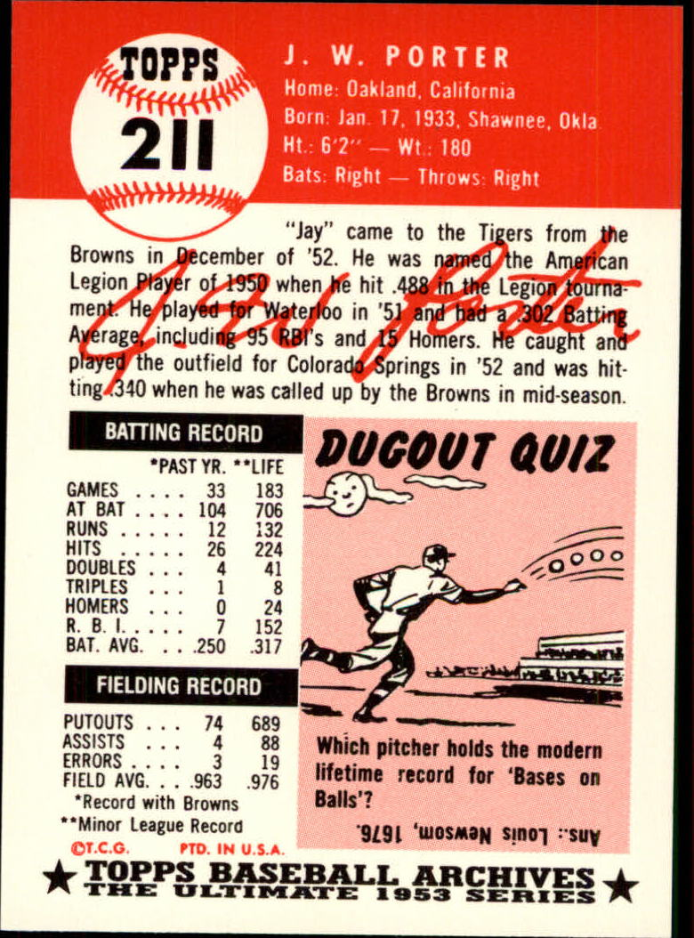 1991 Topps Archives 1953 #211 J.W. Porter back image