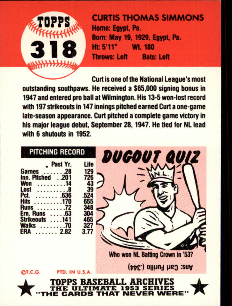 1991 Topps Archives 1953 #318 Curt Simmons back image