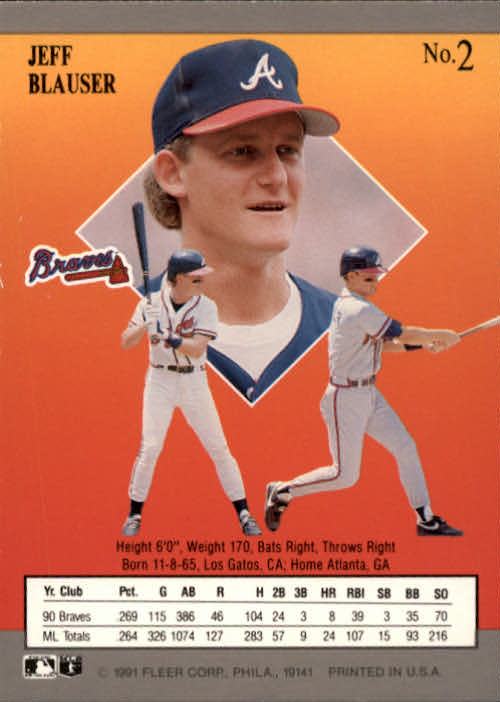 1991 Ultra #2 Jeff Blauser back image