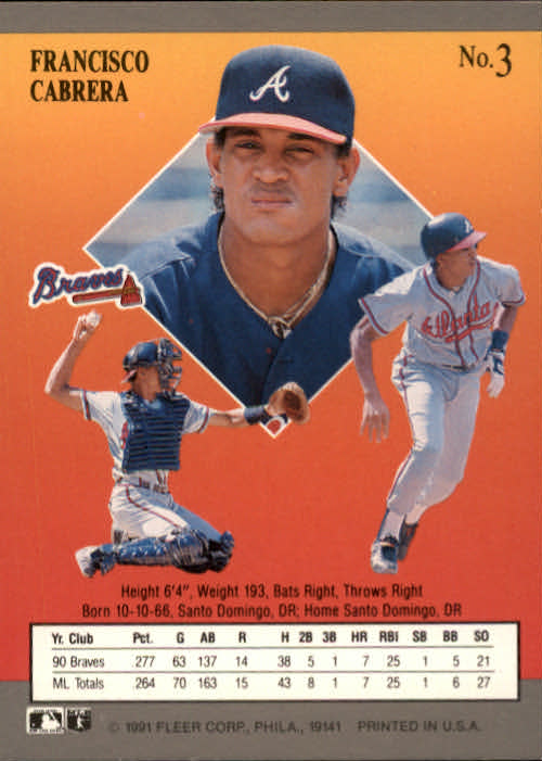 1991 Ultra #3 Francisco Cabrera back image