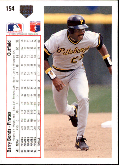 1991 Upper Deck #154 Barry Bonds back image