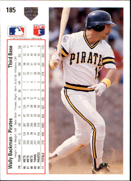 1991 Upper Deck #185 Wally Backman
