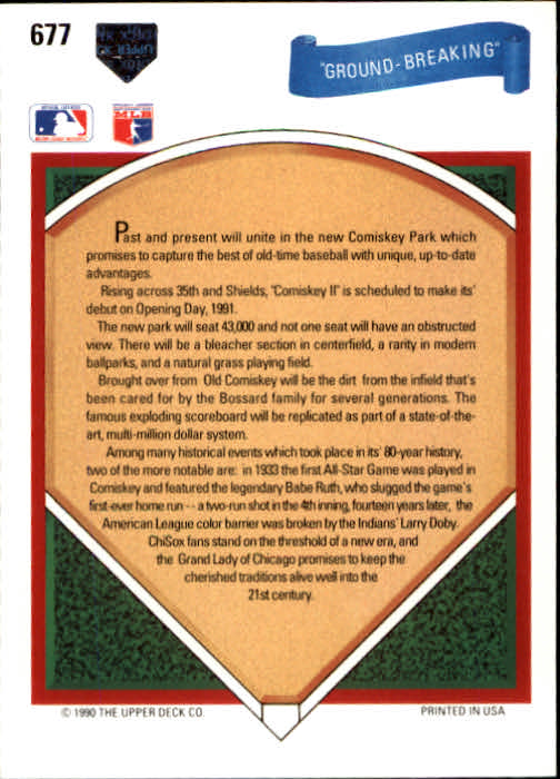 1991 Upper Deck #677 Ground Breaking/New Comiskey Park;/Carlton Fisk and/Robin Ventura
