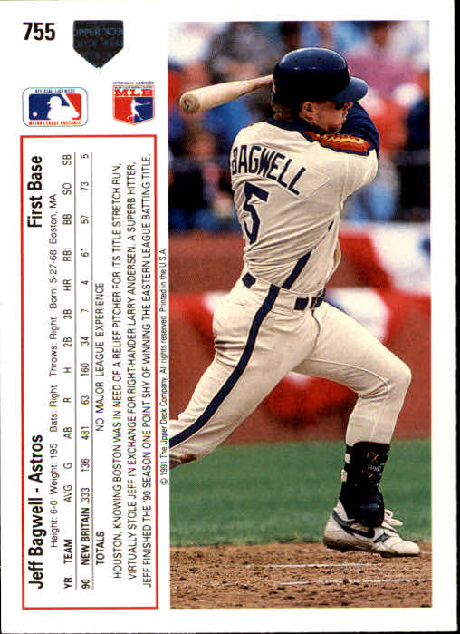 1991 Upper Deck #755 Jeff Bagwell UER RC (Strikeout and walk totals reversed) back image