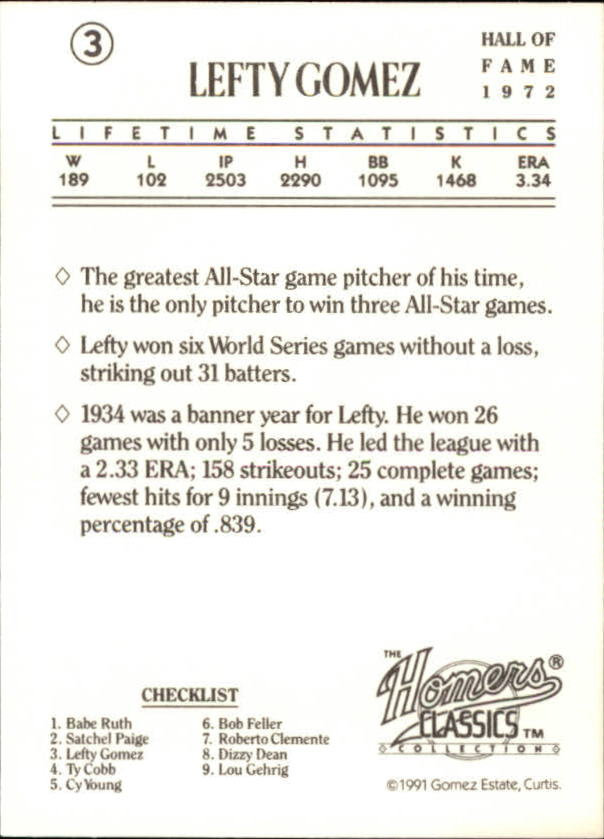 1991 Homers Cookies Classics #3 Lefty Gomez back image
