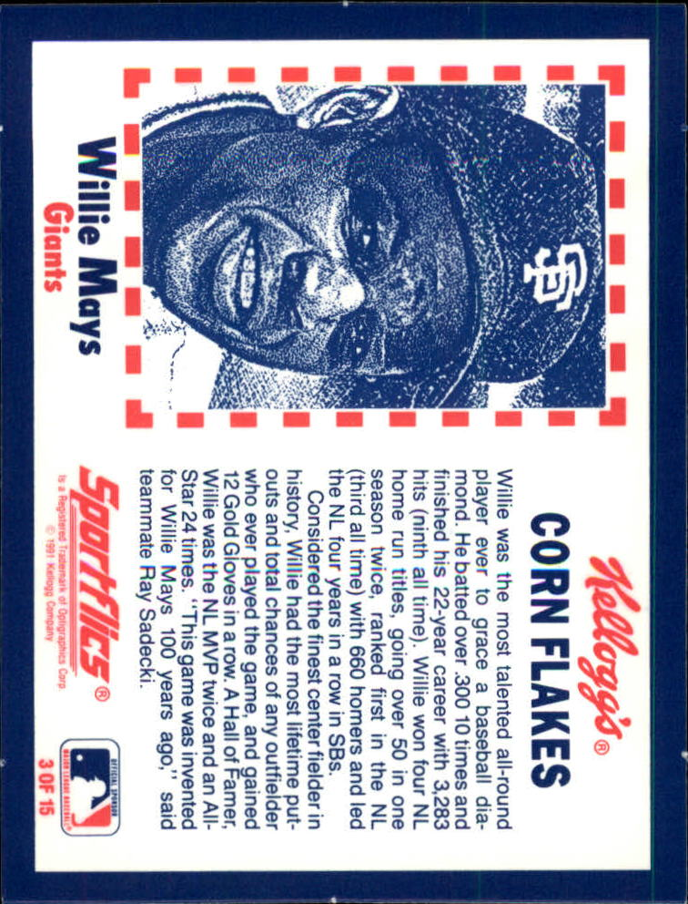 1991 Kellogg's 3D #3 Willie Mays back image