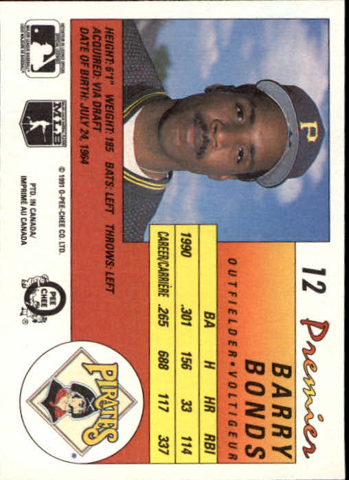 1991 O-Pee-Chee Premier #12 Barry Bonds back image