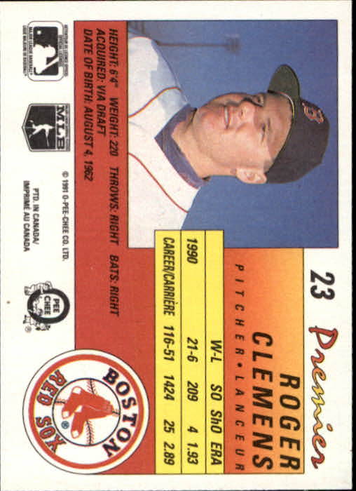 1991 O-Pee-Chee Premier #23 Roger Clemens back image