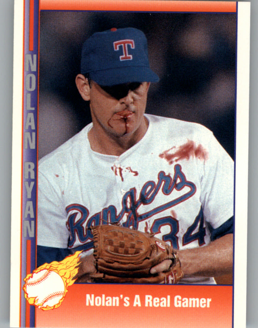 1991 Pacific Ryan Texas Express I #92 Nolan's a Real Gamer/(Bloody lip and/blood all o