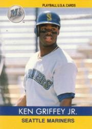 1991 Playball Griffey Jr. #1 Ken Griffey Jr./(Shot from waist up&/with batter
