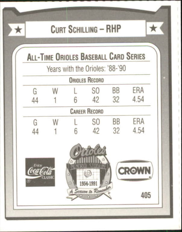 1991 Orioles Crown #405 Curt Schilling back image