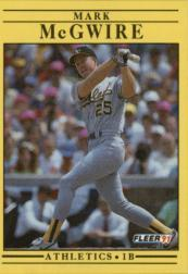 1991 Fleer #17 Mark McGwire UER/(183 extra base/hits in 1987)