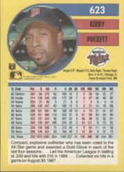 1991 Fleer #623 Kirby Puckett back image