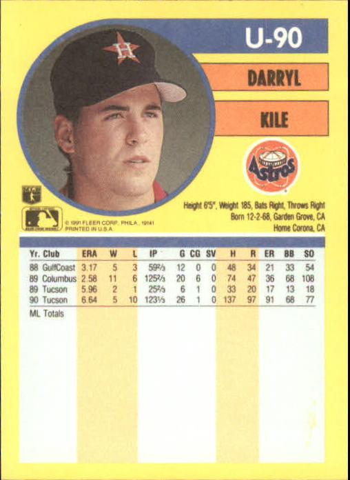 1991 Fleer Update #90 Darryl Kile
