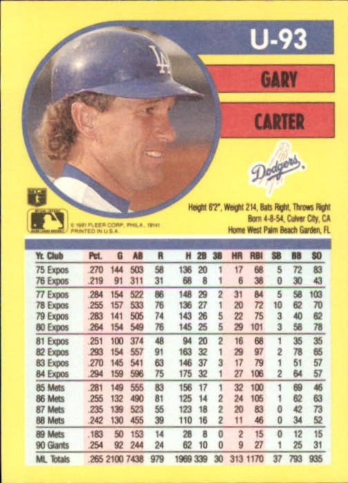 1991 Fleer Update #93 Gary Carter back image