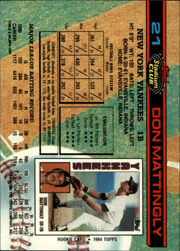 1991 Stadium Club #21 Don Mattingly back image