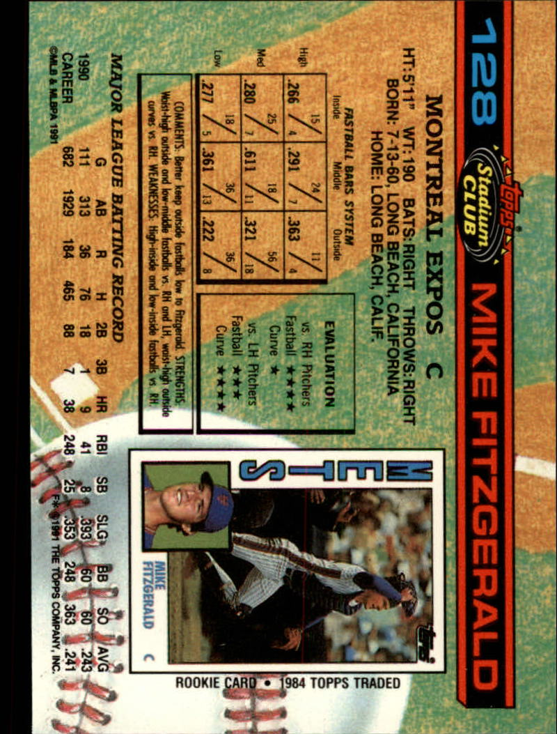 1991 Stadium Club #128 Mike Fitzgerald back image