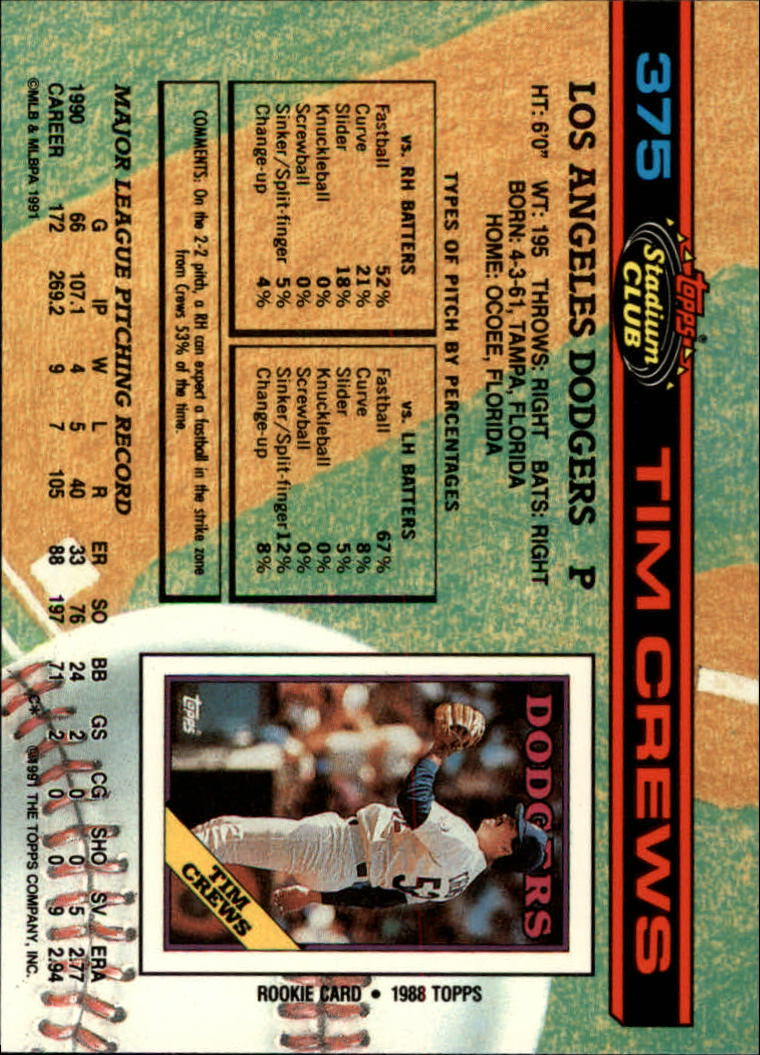 1991 Stadium Club #375 Tim Crews