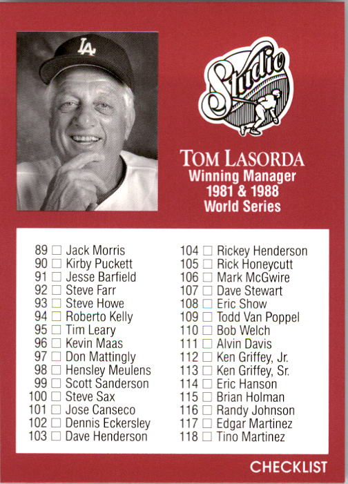 1991 Studio #262 Checklist Card 89-176/Tom Lasorda MG front image