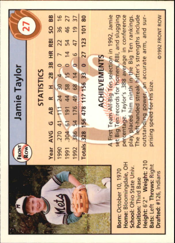 Details about 1992 Front Row Draft Picks Baseball Card Pick