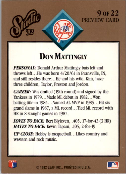 1992 Studio Previews #9 Don Mattingly back image