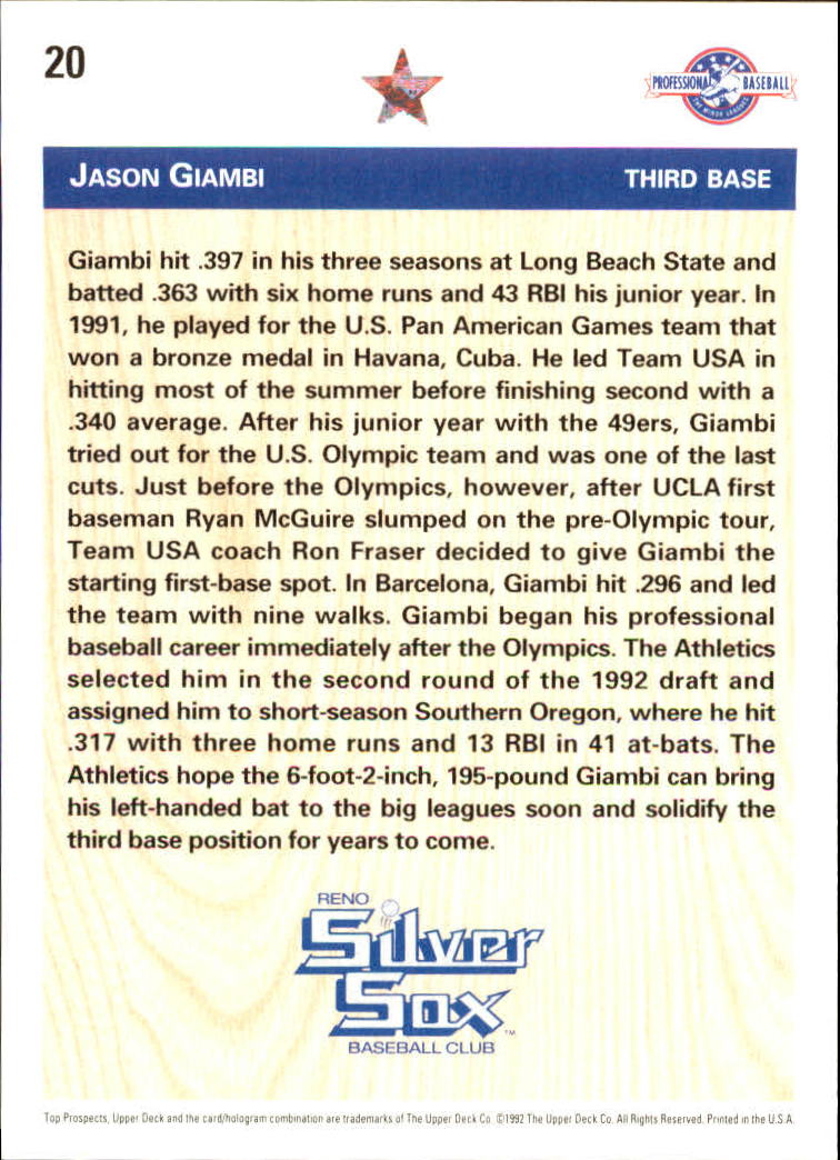 1992 Upper Deck Minors #20 Jason Giambi FDP back image