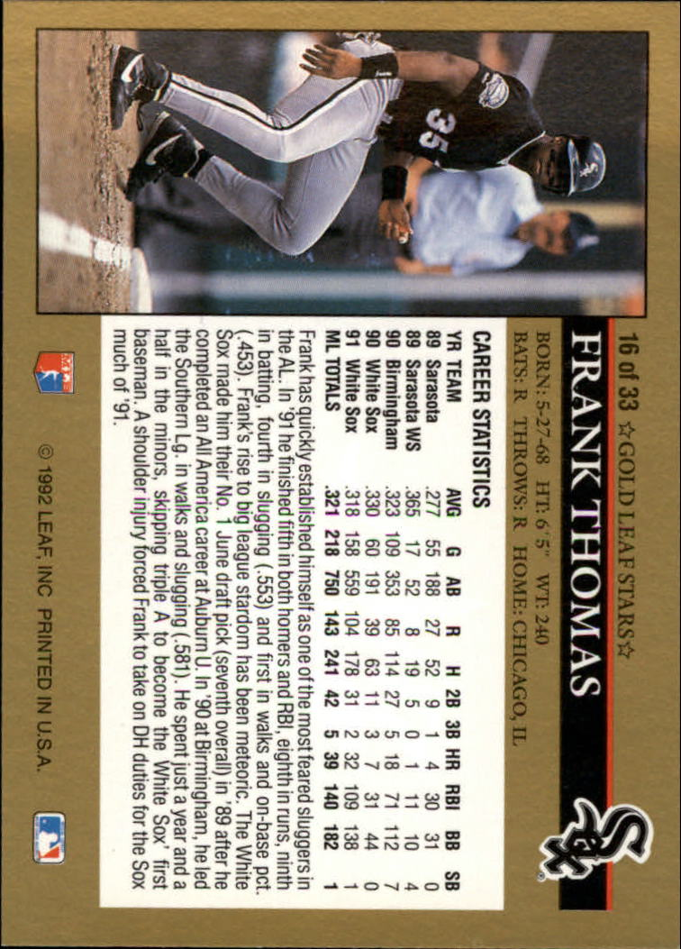 1992 Leaf Gold Previews #16 Frank Thomas back image
