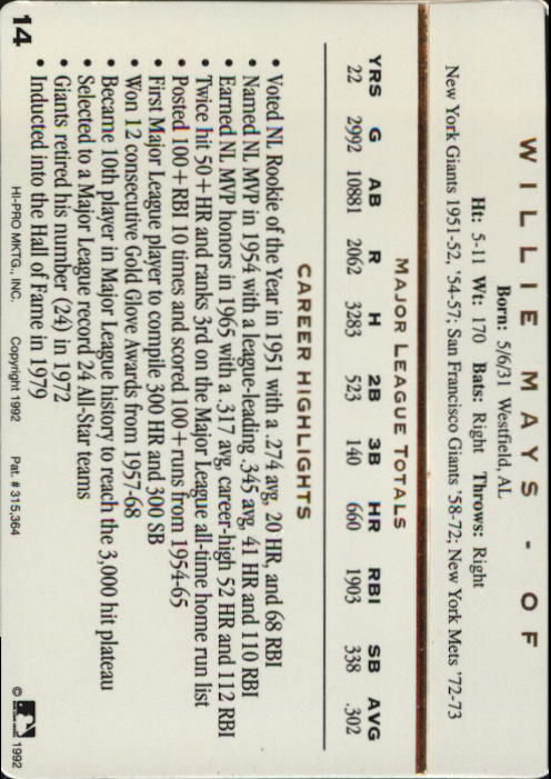 1992 Action Packed ASG #14 Willie Mays back image