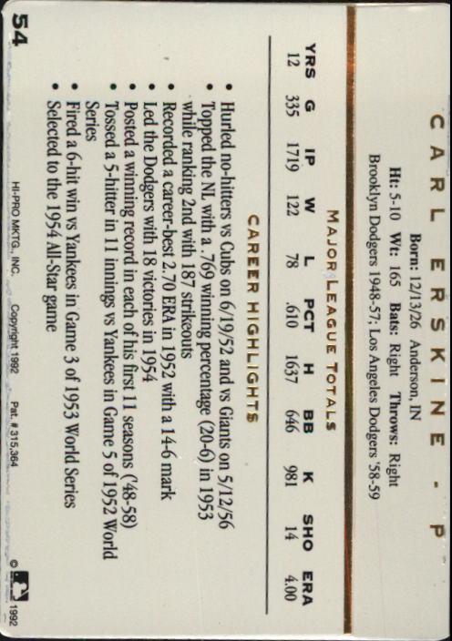 1992 Action Packed ASG #54 Carl Erskine back image
