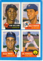1992 Bazooka Quadracard '53 Archives #8 Jim Gilliam/Billy Martin/Minnie Minoso/Hal Newh