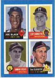 1992 Bazooka Quadracard '53 Archives #13 Joe Black/Lew Burdette/Johnny Pesky/Enos Slaugh