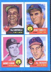 1992 Bazooka Quadracard '53 Archives #20 Roy Campanella/Walt Dropo/Harvey Kuenn/Al Rosen