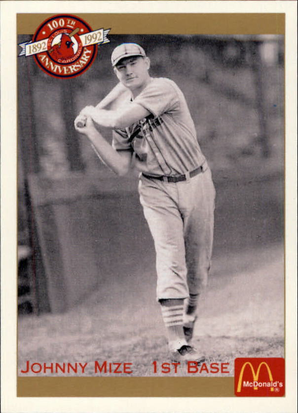 1992 Cardinals McDonald's/Pacific #3 Johnny Mize