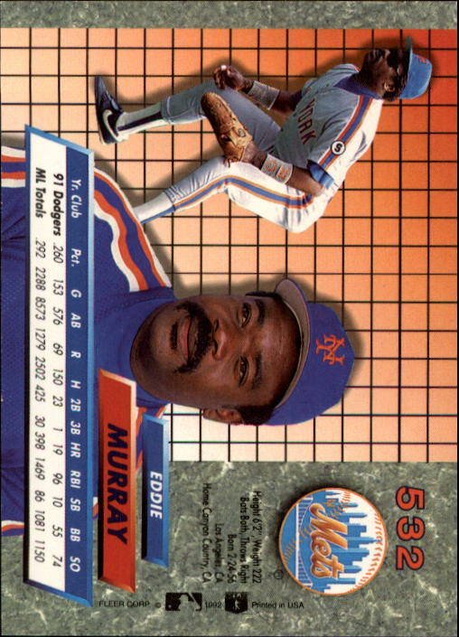 1992 Ultra #532 Eddie Murray back image