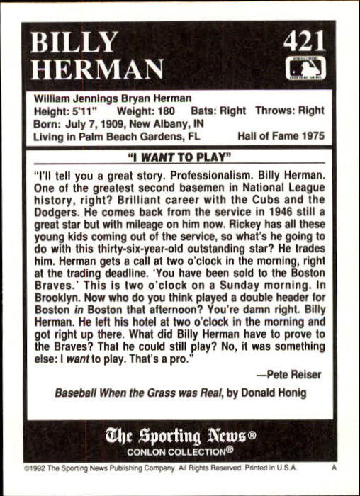 1992 Conlon TSN #421 Billy Herman back image