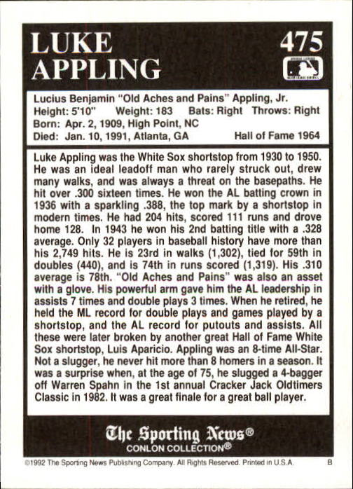 1992 Conlon TSN #475 Luke Appling back image