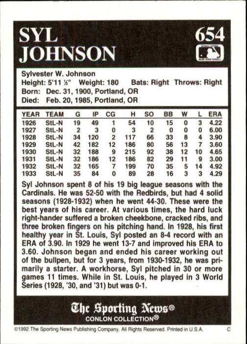 1992 Conlon TSN #654 Syl Johnson back image