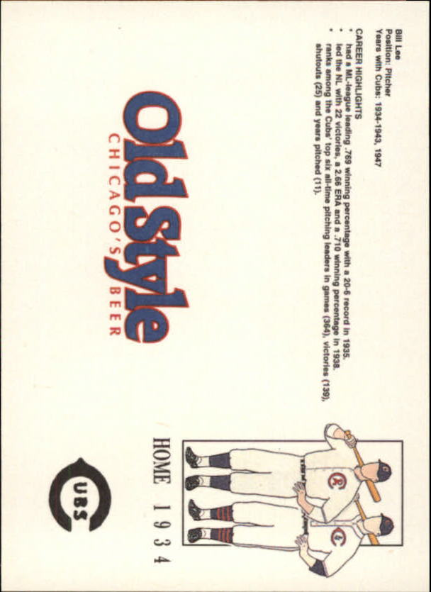 1992 Cubs Old Style #17 Bill Lee