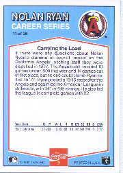 1992 Donruss Coke Ryan #11 Nolan Ryan/1977 CA back image
