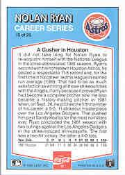 1992 Donruss Coke Ryan #15 Nolan Ryan/1981 HA back image