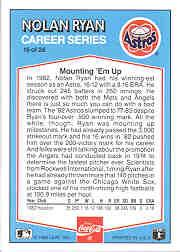 1992 Donruss Coke Ryan #16 Nolan Ryan/1982 HA back image