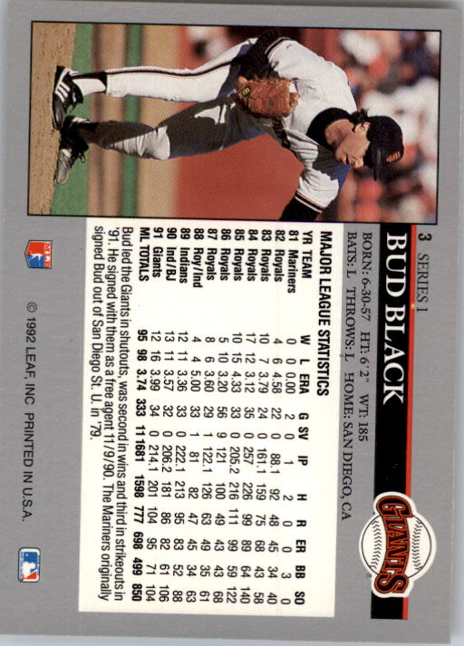 1992 Leaf #3 Bud Black back image