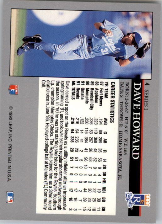 1992 Leaf #4 Dave Howard back image