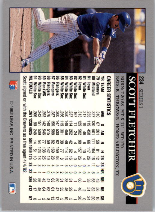 1992 Leaf #234 Scott Fletcher back image