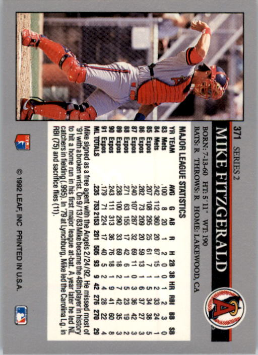 1992 Leaf #371 Mike Fitzgerald back image