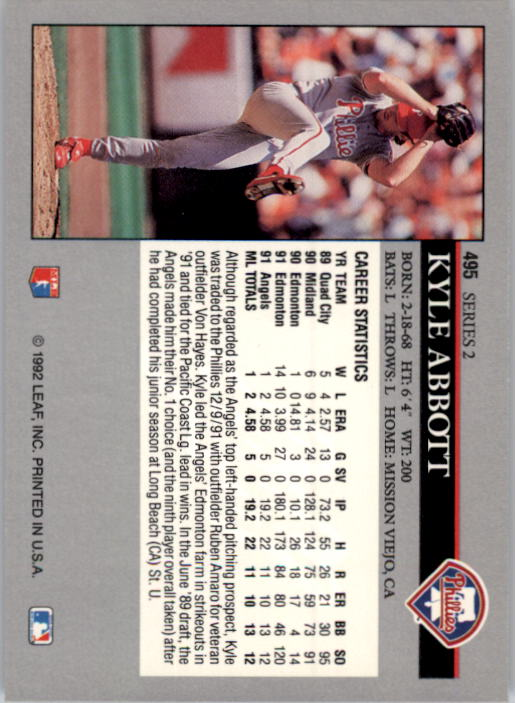 1992 Leaf #495 Kyle Abbott back image