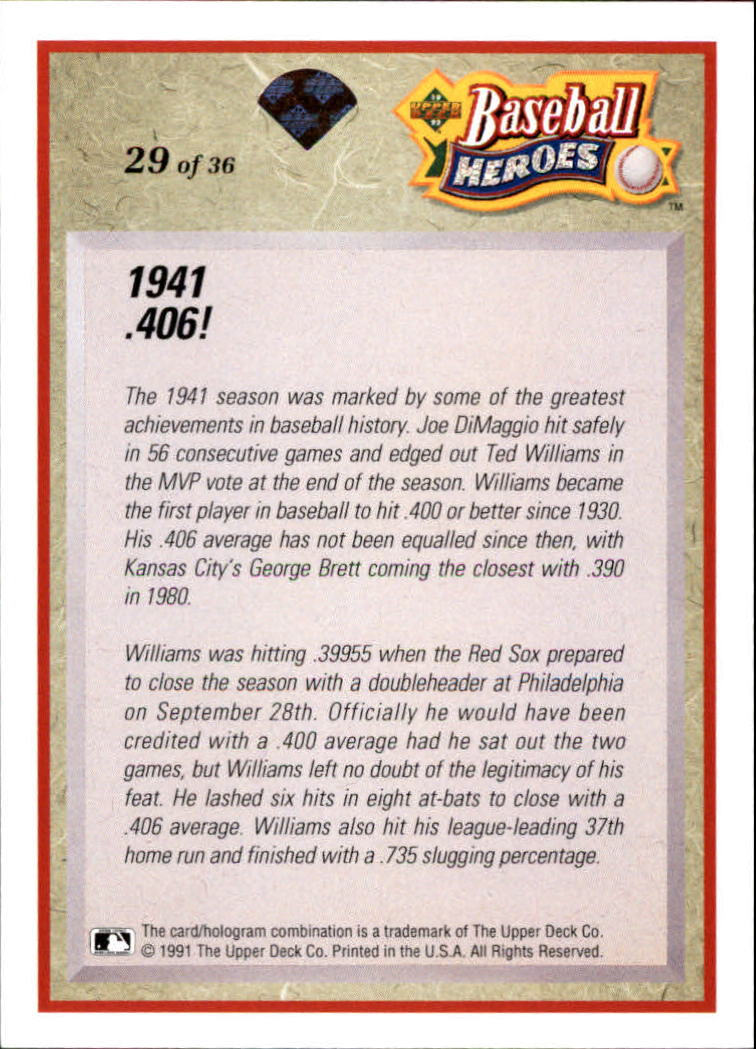 1992 Upper Deck Williams Heroes #29 Ted Williams back image
